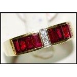 Genuine Ruby and Diamond Solid 18K Yellow Gold Ring [RQ0013]