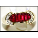 18K Yellow Gold Baguette Ruby and Diamond Ring [RQ0018]