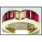 Stunning Heart Design Ruby and Diamond Solid 18K Yellow Gold Ring [RQ0032]
