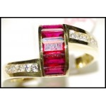 18K Yellow Gold Diamond and Ruby Exclusive Ring [RQ0038]