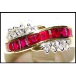 18K Yellow Gold Diamond and Square Ruby Ring [RQ0045]