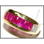 Pink Ruby and Diamond Solid 18K Yellow Gold Band Ring [RQ0053]