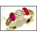Couple Ruby and Diamond Solid 18K Yellow Gold Ring [RS0078]