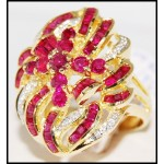 18K Yellow Gold Gorgeous Ruby and Diamond Cocktail Ring [R0061]