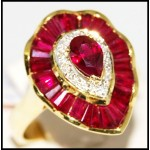 18K Yellow Gold Stunning Ruby and Diamond Cocktail Ring [R0065]