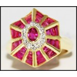 18K Yellow Gold Cocktail Ring With Ruby and Diamond [R0067]