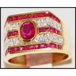 18K Yellow Gold Gorgeous Diamond and Ruby Ring [R0075]