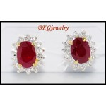 18K Yellow Gold Ruby Diamond Earrings