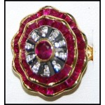 Exclusive Ruby and Diamond Solid 18K Yellow Gold Ring [RF0026]