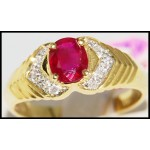 18K Yellow Gold Diamond and Oval Ruby Ring [R0087]