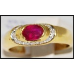 Stunning Genuine Ruby Diamond 18K Yellow Gold Solitaire Ring [R0088]