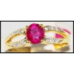 Ruby Solitaire Ring Natutal Diamond 18K Yellow Gold [R0096]