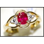Natutal Ruby Diamond 18K Yellow Gold Solitaire Ring [R0100]