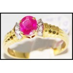 Stunning Ruby Solitaire Ring Genuine Diamond 18K Yellow Gold [R0115]