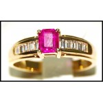 Solitaire 18K Yellow Gold Natural Diamond Ruby Stunning Ring [R0131]