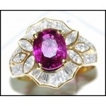 Stunning Oval Ruby and Diamond Solid 18K Yellow Gold Gorgeous Ring [RB0012]