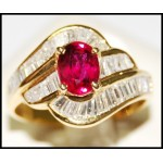 Exclusive Diamond 18K Yellow Gold Stunning Ruby Solitaire Ring [RB0015]