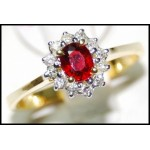 Diamond Solitaire Ruby Exclusive Ring 18K Yellow Gold [RS0001]