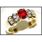 18K Yellow Gold Ruby Solitaire Diamond Stunning Ring [RS0029]
