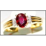 Diamond 18K Yellow Gold Natural Ruby Solitaire Ring [RS0031]