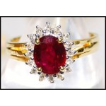18K Yellow Gold Solitaire Exclusive Diamond Ruby Ring [RS0049]