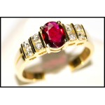 Diamond Stunning 18K Yellow Gold Solitaire Ruby Ring [RS0075]