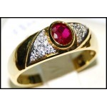 Exclusive Solitaire Diamond Ruby 18K Yellow Gold Ring [RS0080]