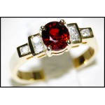 18K Yellow Gold Gorgeous Diamond Solitaire Ruby Ring [RS0084]