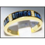 Blue Sapphire Genuine 18K Yellow Gold Diamond Ring Band [R0027]