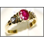 Ruby Solitaire Stunning Diamond Ring 18K Yellow Gold [RS0089]