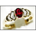 Ruby Diamond Stunning Solitaire Ring 18K Yellow Gold [RS0099]