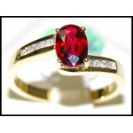18K Yellow Gold Ruby Diamond Solitaire Gorgeous Ring [RS0106]