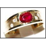 Diamond Solitaire Gorgeous Ruby Ring 18K Yellow Gold [RS0112]