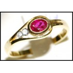 18K Yellow Gold Exclusive Solitaire Diamond Ruby Ring [RS0115]