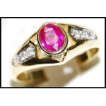 Solitaire Diamond 18K Yellow Gold Ruby Exclusive Ring [RS0119]