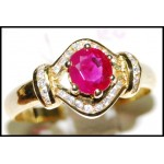 Solitaire Exclusive Ruby Diamond Ring 18K Yellow Gold [RS0127]