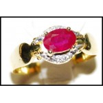 Diamond Ruby Solitaire Gorgeous 18K Yellow Gold Ring [RS0129]