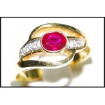Diamond Solitaire Ruby Stunning Ring 18K Yellow Gold [RS0131]