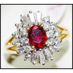 Solitaire Diamond Exclusive Ruby Ring 18K Yellow Gold [RS0157]