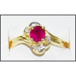Genuine Diamond Solitaire 18K Yellow Gold Ruby Ring [RS0181]
