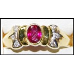 18K Yellow Gold Ruby Stunning Diamond Solitaire Ring [RS0184]