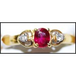 Diamond 18K Yellow Gold Solitaire Ruby Ring Stunning [RS0191]