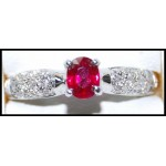 Solitaire Diamond 18K Yellow Gold Ruby Exclusive Ring [RS0192]