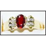 18K Yellow Gold Ruby Diamond Solitaire Exclusive Ring [RS0195]