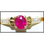 Diamond 18K Yellow Gold Exclusive Solitaire Ruby Ring [RS0196]