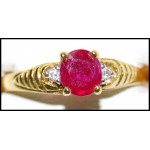 Exclusive Ruby Diamond Solitaire Ring 18K Yellow Gold [RS0205]