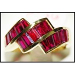 Baguette Ruby Solitaire 18K Yellow Gold Gorgeous Ring [RQ0004]