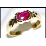 Solitaire Ruby Exclusive Ring Solid 18K Yellow Gold RS0061]
