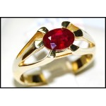 Exclusive 18K Yellow Gold Natural Ruby Solitaire Ring [RS0062]