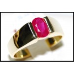 18K Yellow Gold Genuine Oval cut Ruby Solitaire Ring [RS0069]